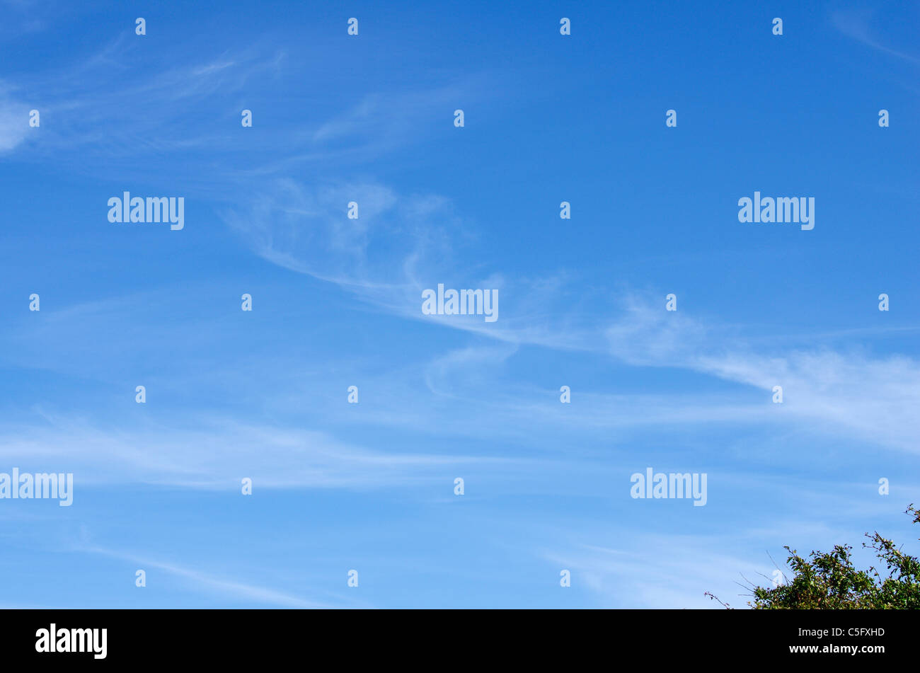 Cirro-stratus with a lingering cirrus uncinus, the air is now more moist with thickening cloud and rain to follow. Stock Photo