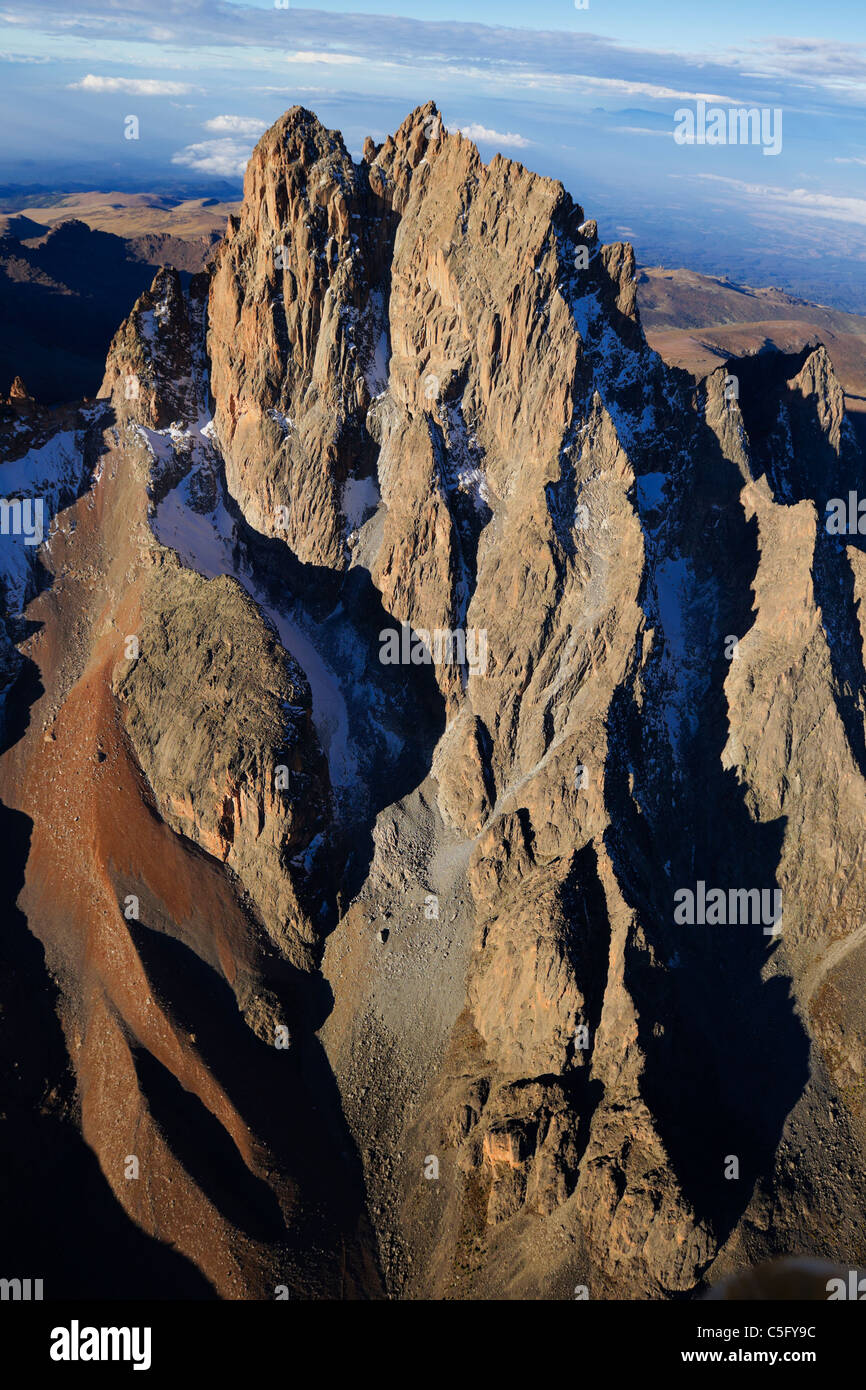 Mount Kenya is the highest mountain in Kenya and the second-highest in Africa and sits just south of the equator. - Stock Image