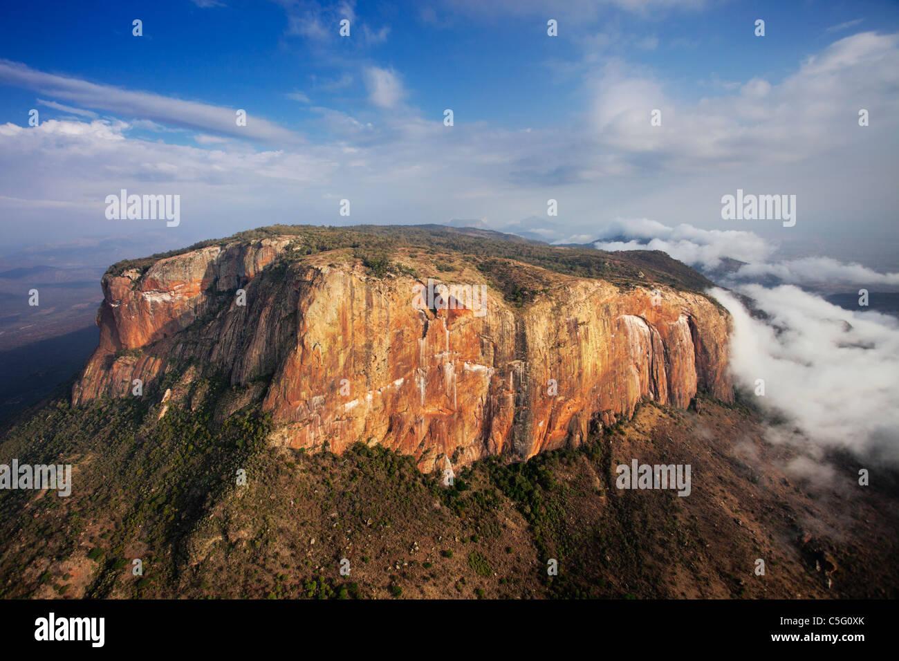 Ololokwe mountain is a striking landmark in Northern Kenya. - Stock Image