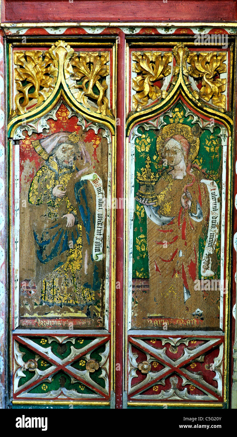 Thornham, Norfolk, Rood Screen, Prophet Lazarus and St. Mary Magdalene Stock Photo