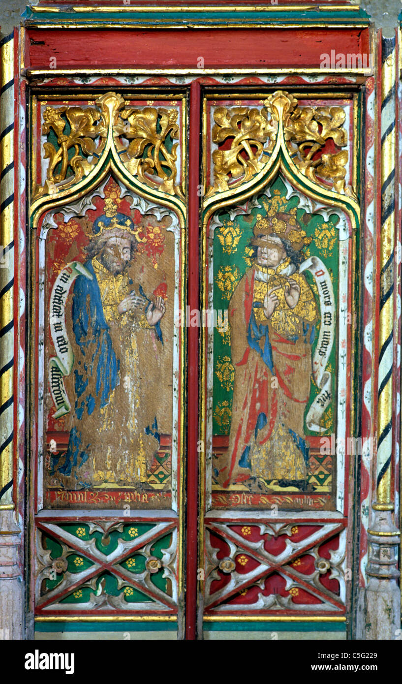 Thornham, Norfolk, Rood Screen, Prophets Amos and Hosea, 15th century medieval rood screen, Old Testament Prophet - Stock Image