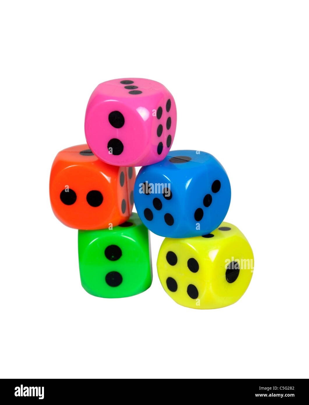 Colorful dice used to gamble and make decisions on a roll - path included - Stock Image