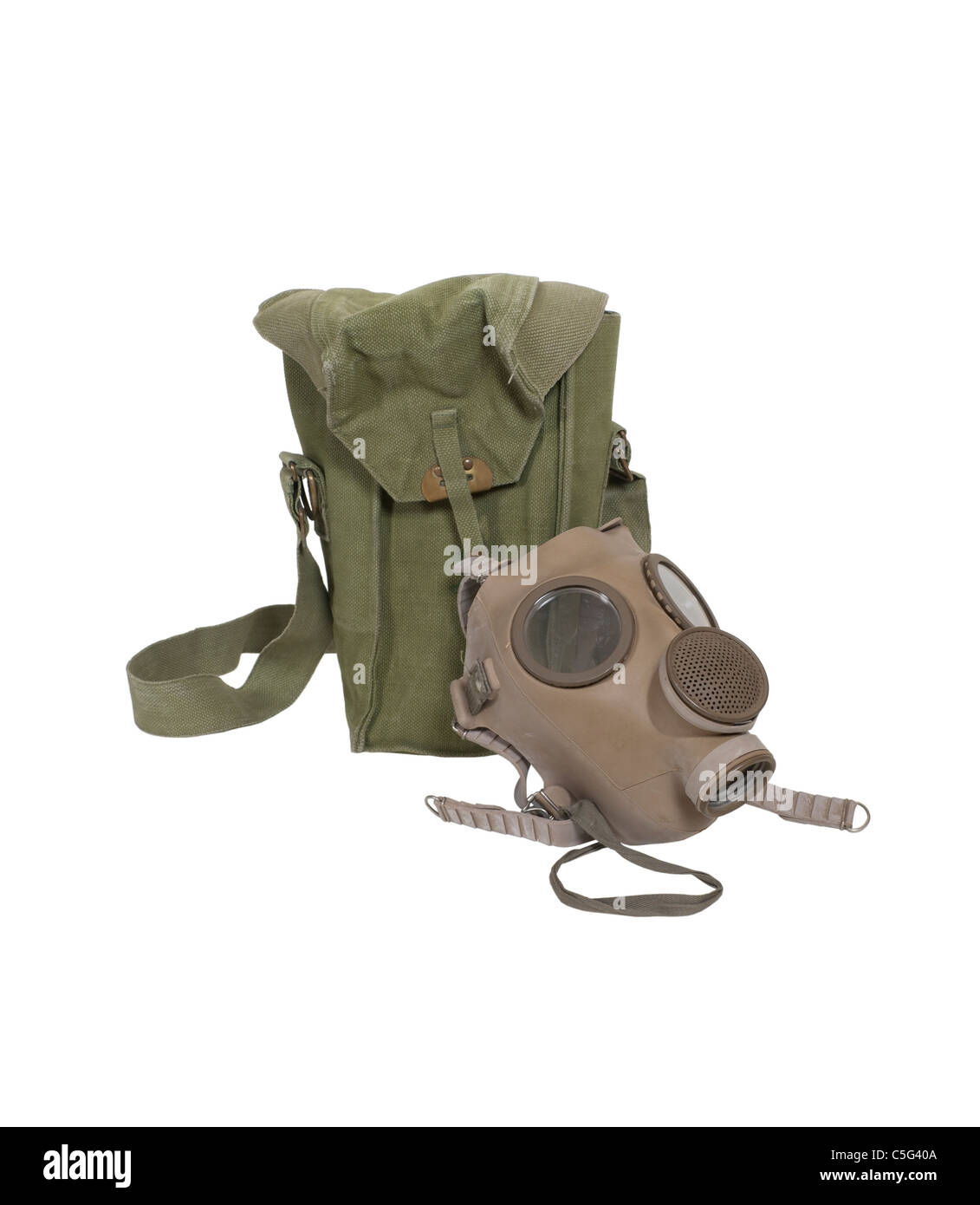 Retro rubber gas mask and carrier bag to protect the wearer from airborne pollutants and toxic gases - path included - Stock Image
