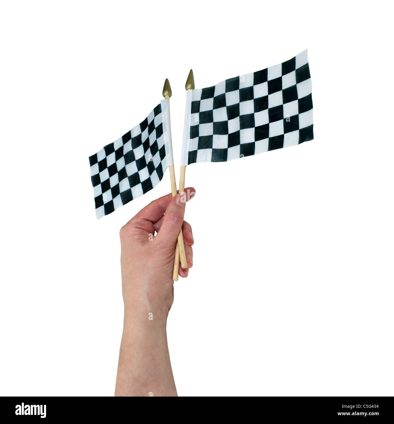 Waving checkered flags that symbolize the finish line - path included - Stock Image
