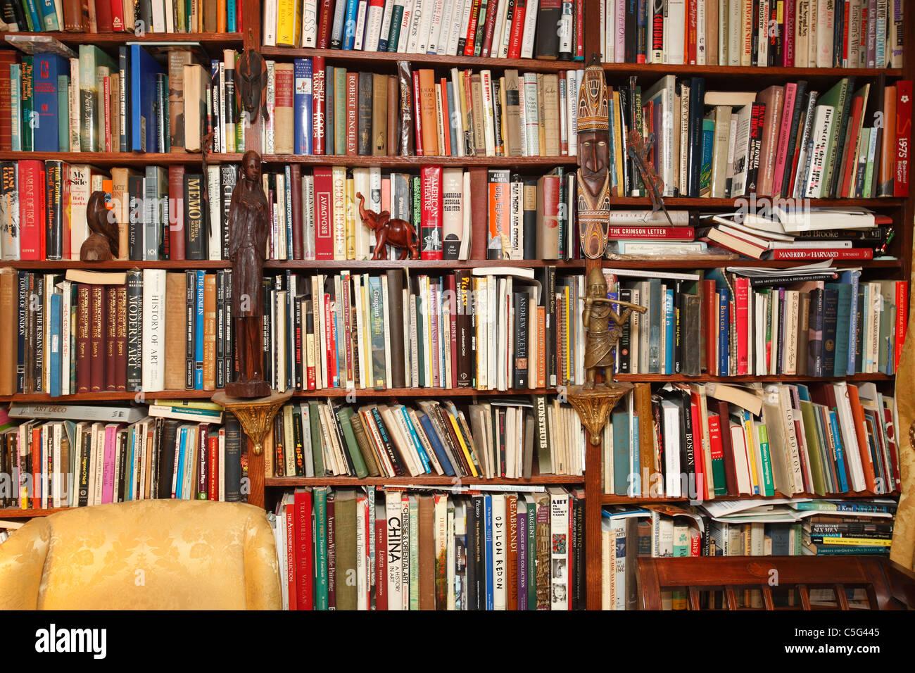 full bookshelves home library stock image - Library Bookshelves
