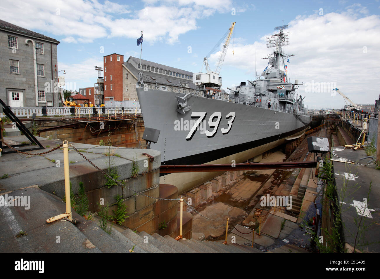 US Navy World War II destroyer USS Cassin Young in dry dock at the Charlestown Navy Yard in Boston, Massachusetts - Stock Image