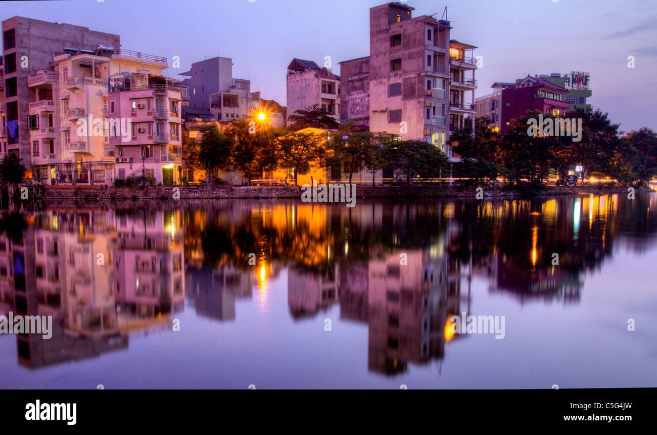 Lakeside landscape ,Trúc Bạch Lake , near West lake, Hanoi, Vietnam - Stock Image