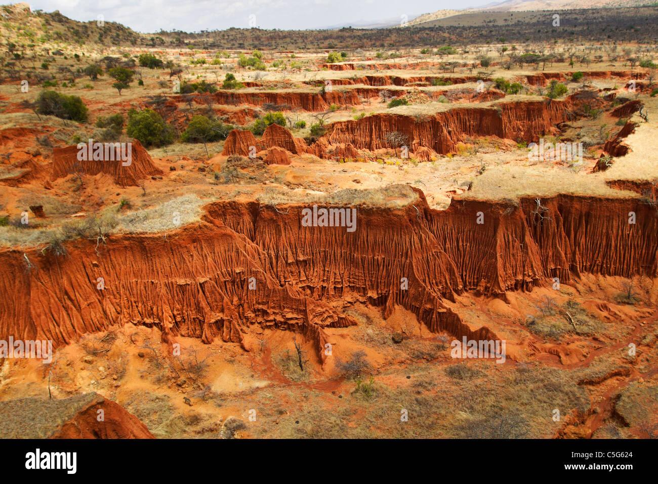 Soil erosion creates intricate patterns,Kenya - Stock Image