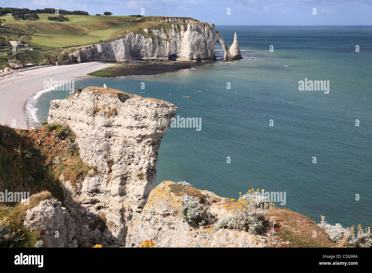 Falaise d'Aval or arch and the Aiguille or needle at Etretat in Normandy, France Stock Photo