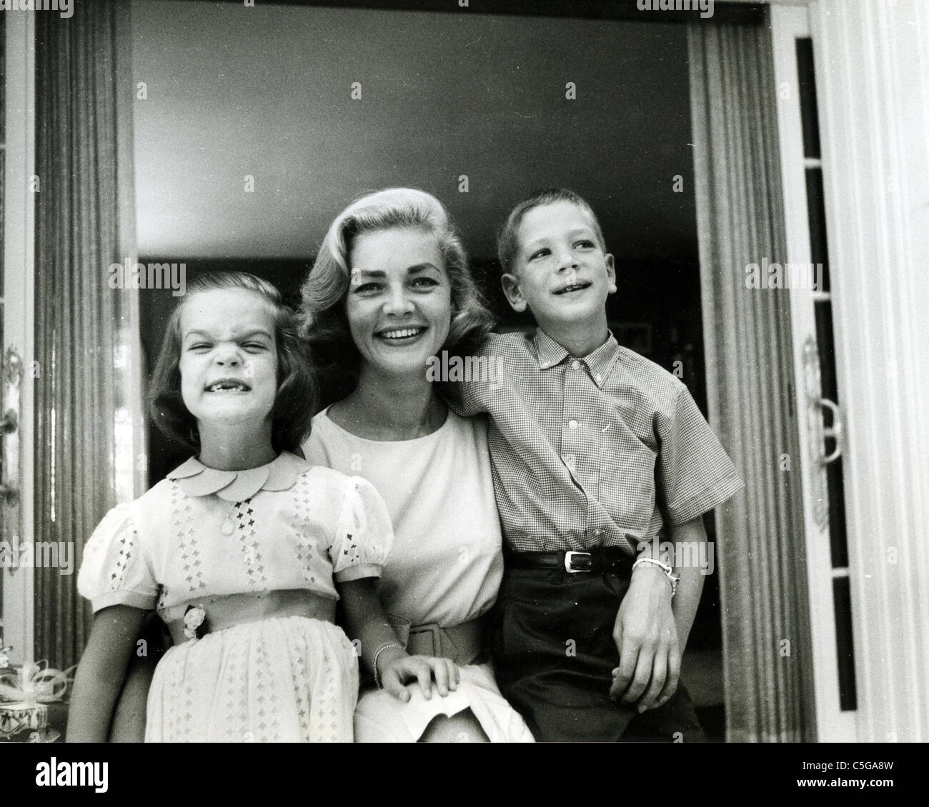 LAUREN BACALL about 1955 with her children by Humphrey ...