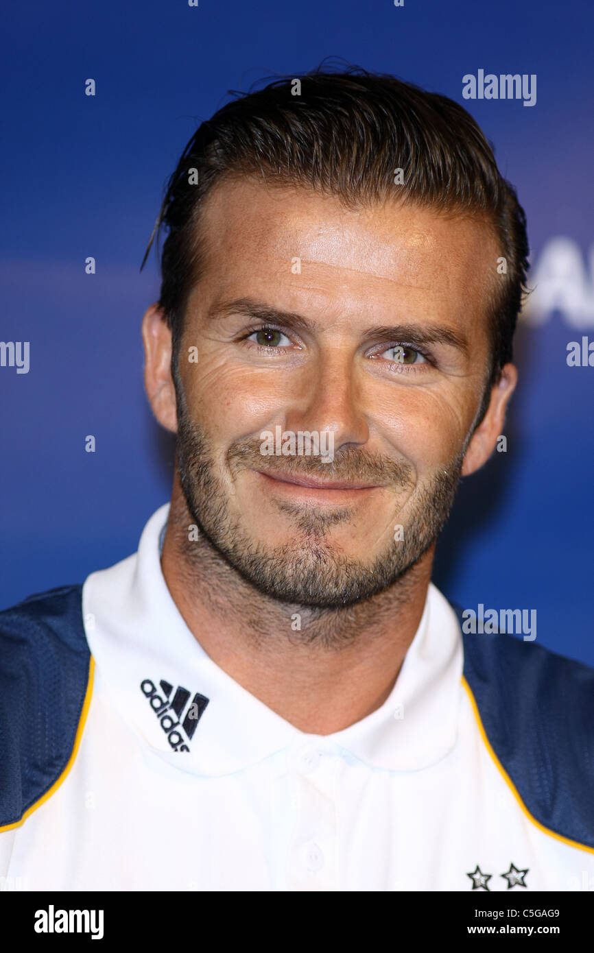 DAVID BECKHAM WORLD FOOTBALL CHALLENGE 2011 PRESS CONFERENCE LOS ANGELES CALIFORNIA 12 July 2011 - Stock Image
