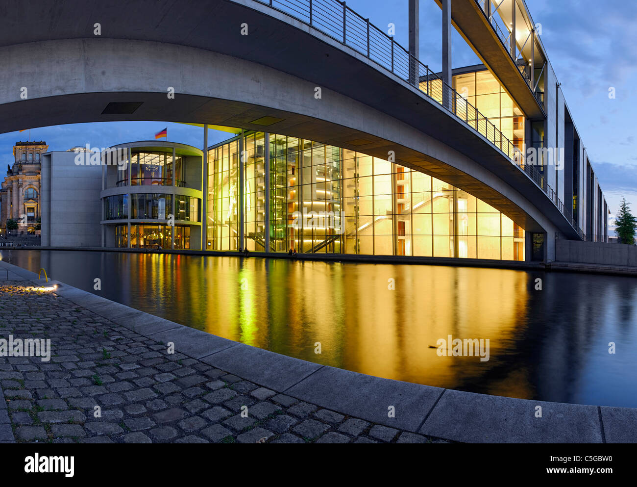 Paul-Loebe-Haus building, Parliament of Germany and the Reichstag building, Regierungsviertel district, Berlin, - Stock Image