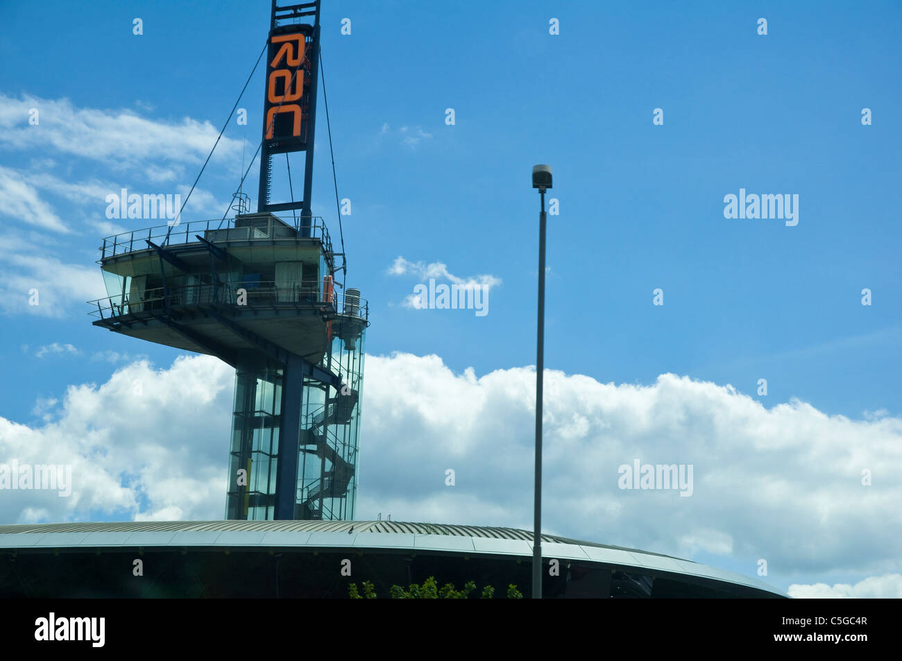 RAC watchtower / watch tower - overlooking and adjacent to the M5 motorway, keeping an eye on traffic conditions, - Stock Image