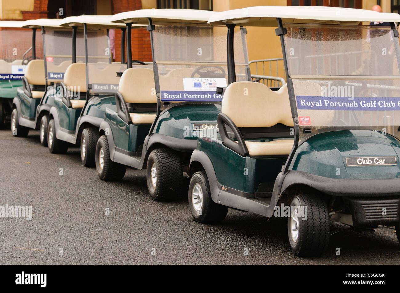 Golf carts at Royal Portrush Golf Club - Stock Image