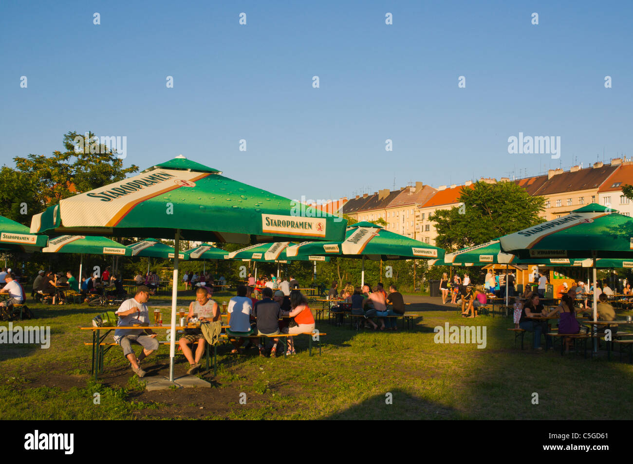 Beer garden started summer 2011 at Ohrada junction Zizkov district Prague Czech Republic Europe - Stock Image