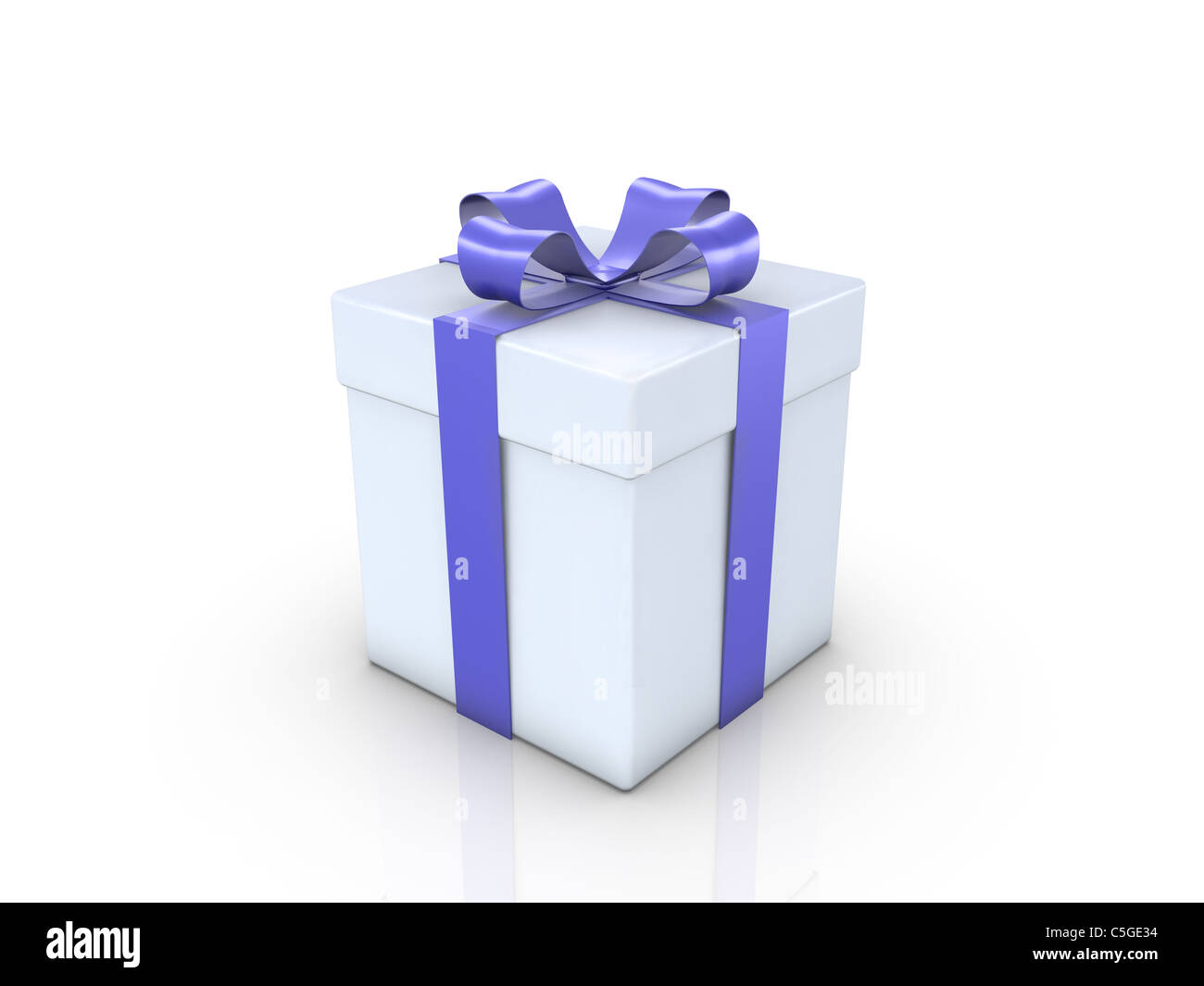 A Gifrbox with a blue ribbon on white background Stock Photo