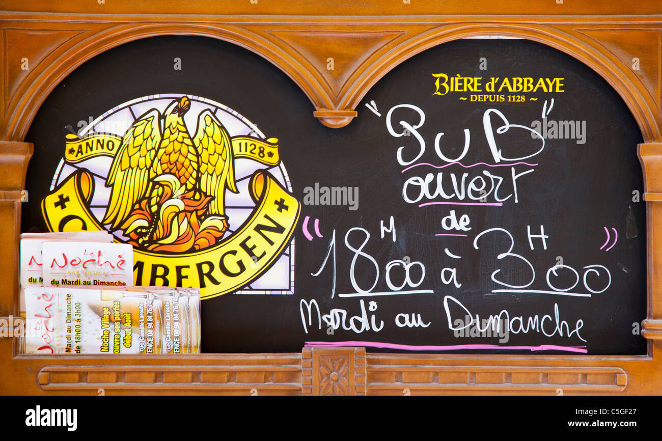 French 'pub' blackboard display showing opening hours, Fayence, Provence, France - Stock Image