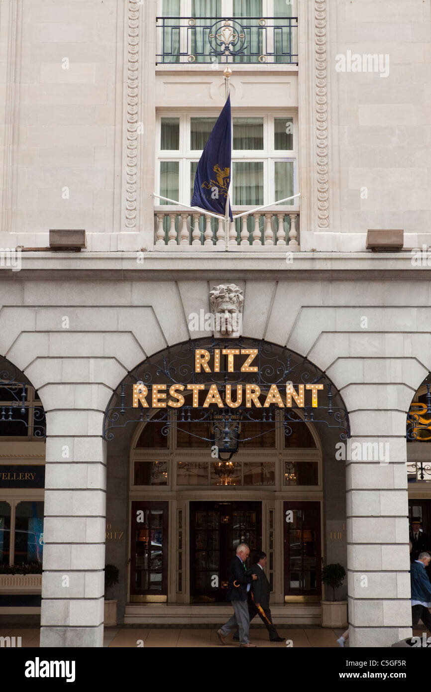 Entrance to the Ritz restaurant, Piccadilly, London, England, UK - Stock Image