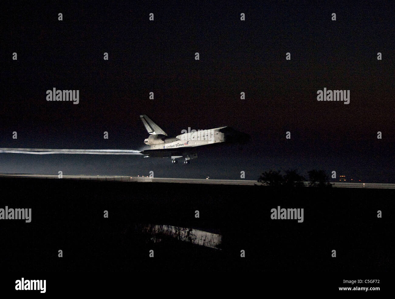 Final Space Shuttle mission Atlantis lands at Kennedy Space Center - Stock Image