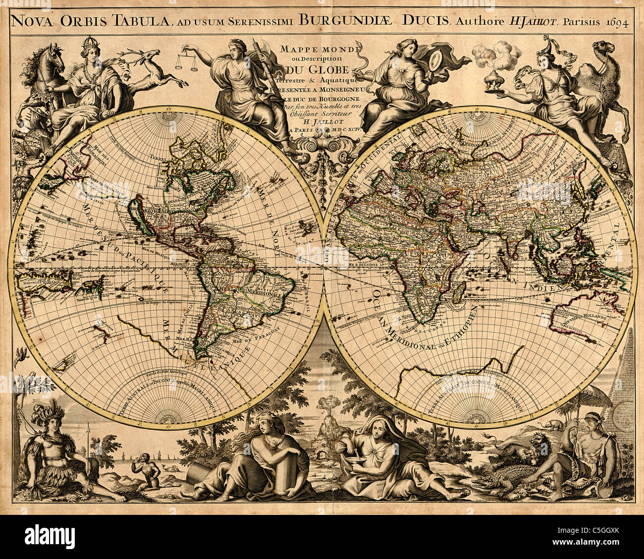 Antiquarian World Map - Stock Image