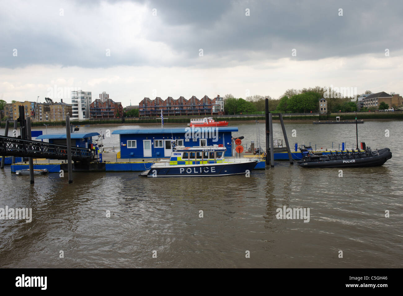 The Marine Policing Unit at the River Thames, Wapping, London, England, UK - Stock Image