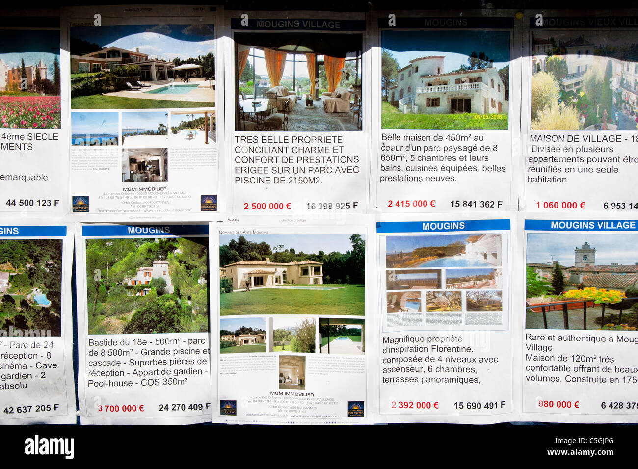 Estate Agents window showing houses for sale, Mougins, Provence, France - Stock Image