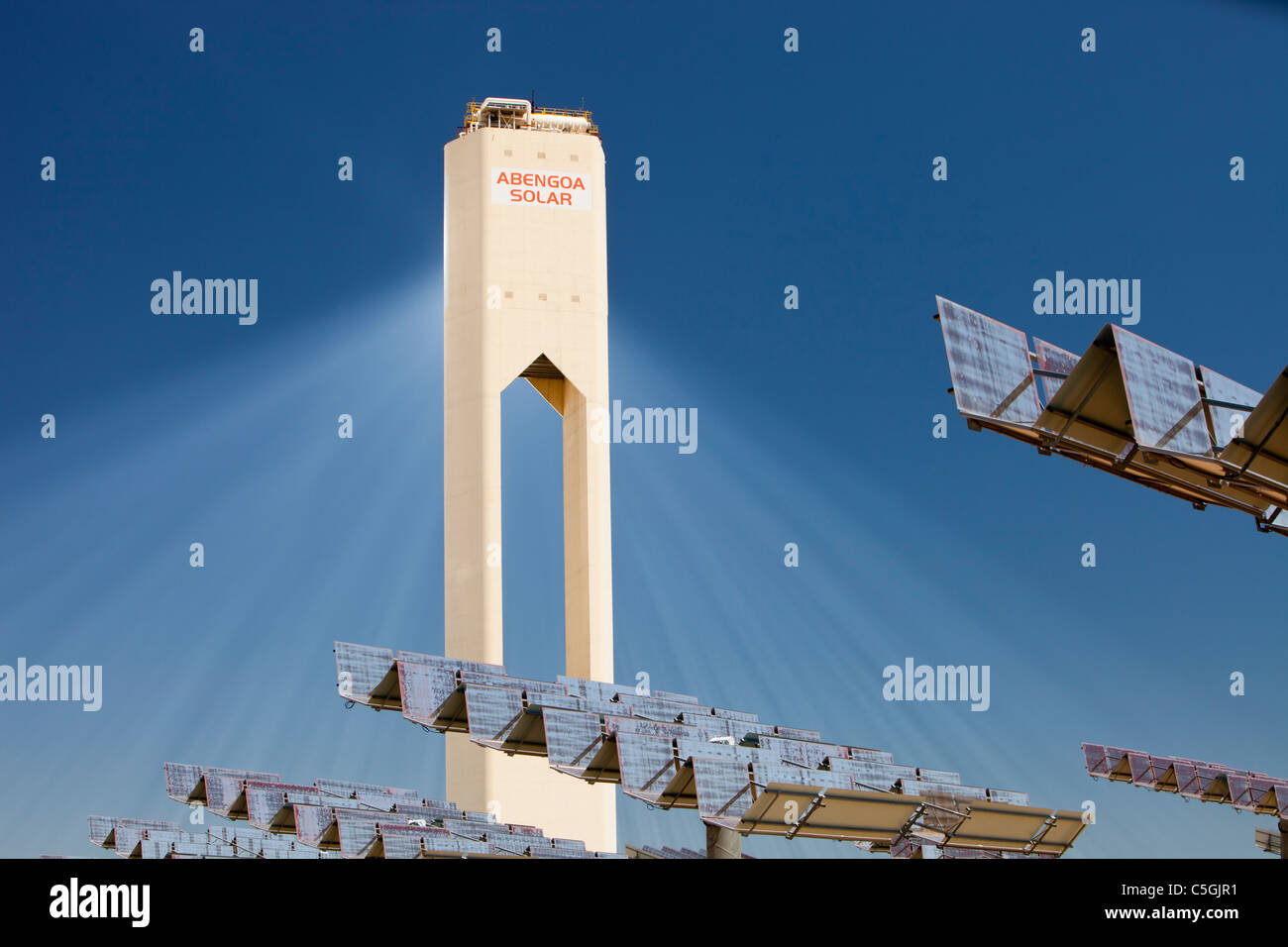 The PS20 solar thermal tower, the only such working solar tower currently in the world. Its is part of the Solucar - Stock Image