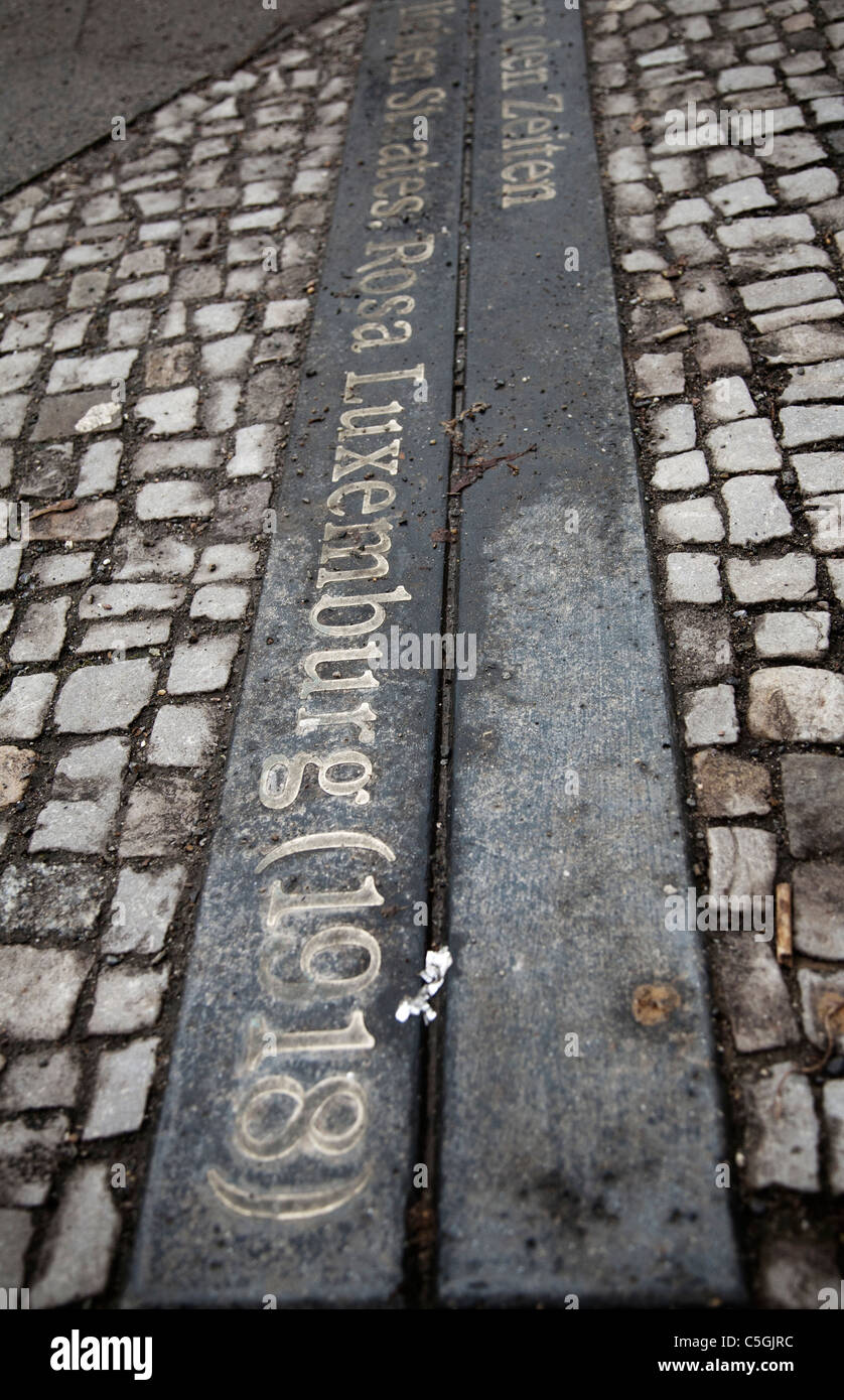 Detail from the sidewalk on the Rosa Luxemburg Street. Berlin, Germany. - Stock Image