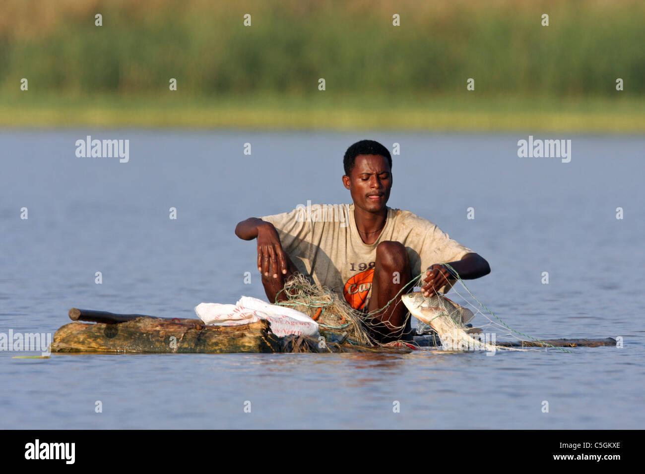 Fisherman in Lake Awasa Ethiopia - Stock Image