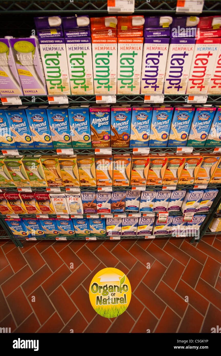 Non-dairy organic and natural milk substitutes in the Fairway supermarket on the Upper East Side of New York - Stock Image