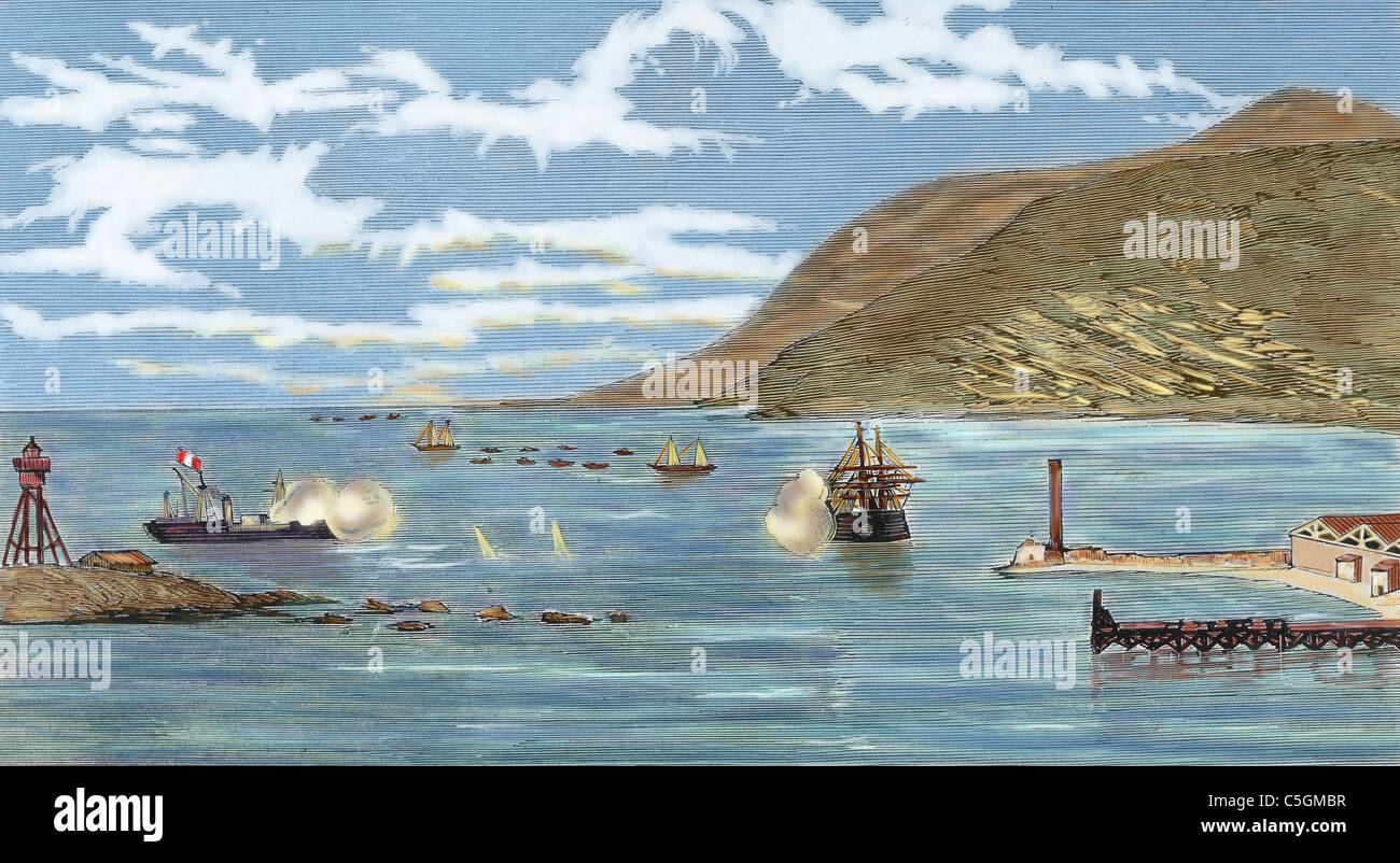 The Pacific War. Battle of Iquique. The Chilean corvette 'Esmeralda' is sunk by the Peruvian ironclad 'Huascar' - Stock Image