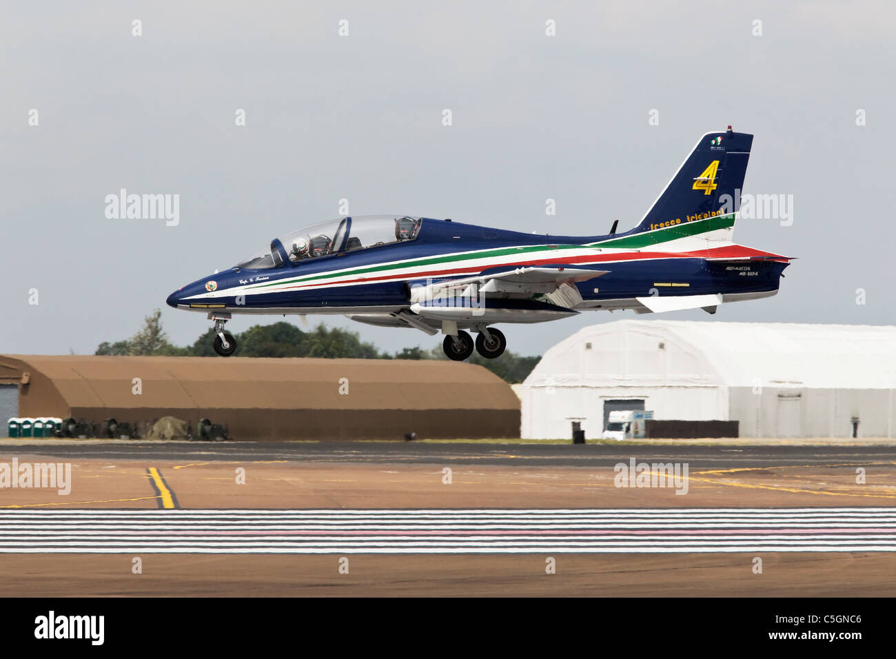 An Aermacchi MB339 of the Italian Air Force aerobatic team the Frecce Tricolori on finals Stock Photo