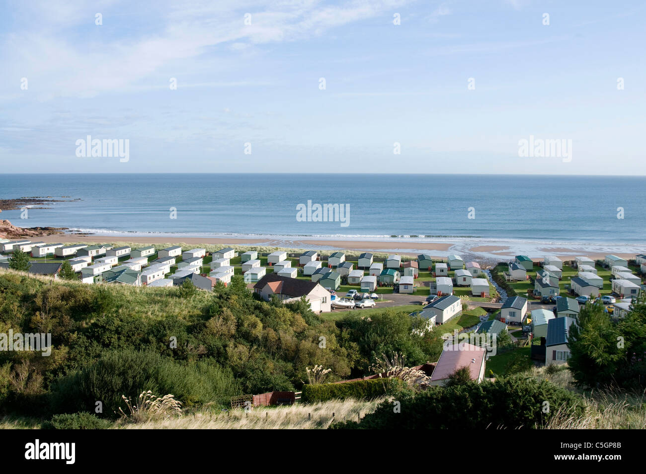 Caravan park at Pease Bay - Scottish Borders - Stock Image