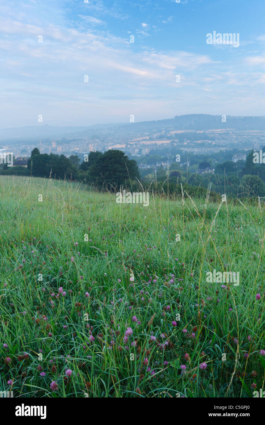 The City of Bath at Dawn from the Skyline Walk at Widcombe Hill. Somerset. England. UK. - Stock Image