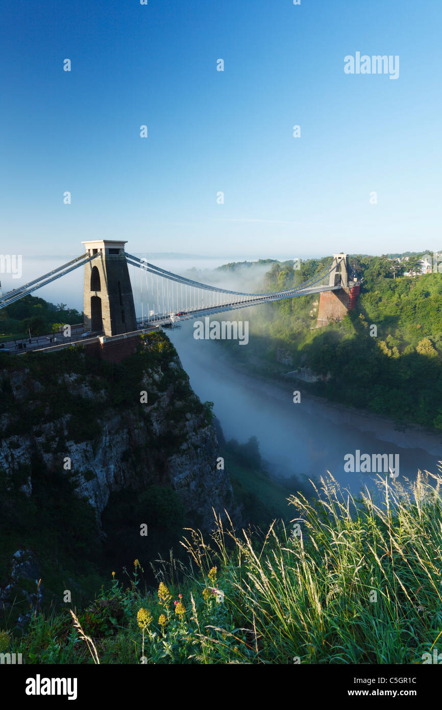 Morning mist in the Avon Gorge at Clifton Suspension Bridge. Bristol. England. UK. - Stock Image