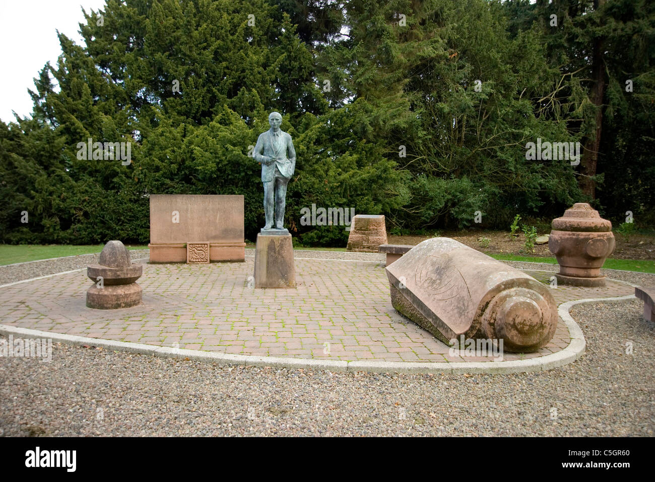 Coldstream the park and the statue of sir Alec Douglas Hume - Stock Image