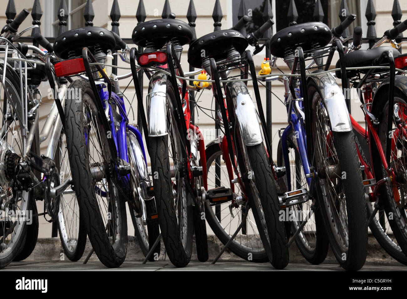 Cycles on a street in Westminster, London, England, U.K. - Stock Image