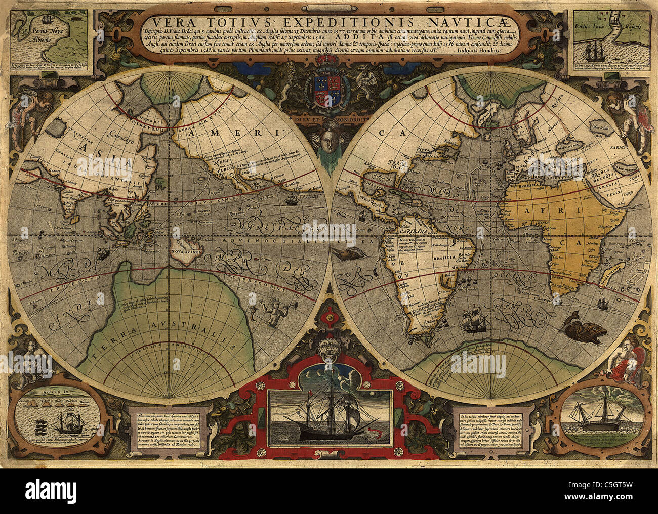 vera totius expeditionis nauticæ - Antique World Map by Jodocus Hondius, 1895 - Stock Image