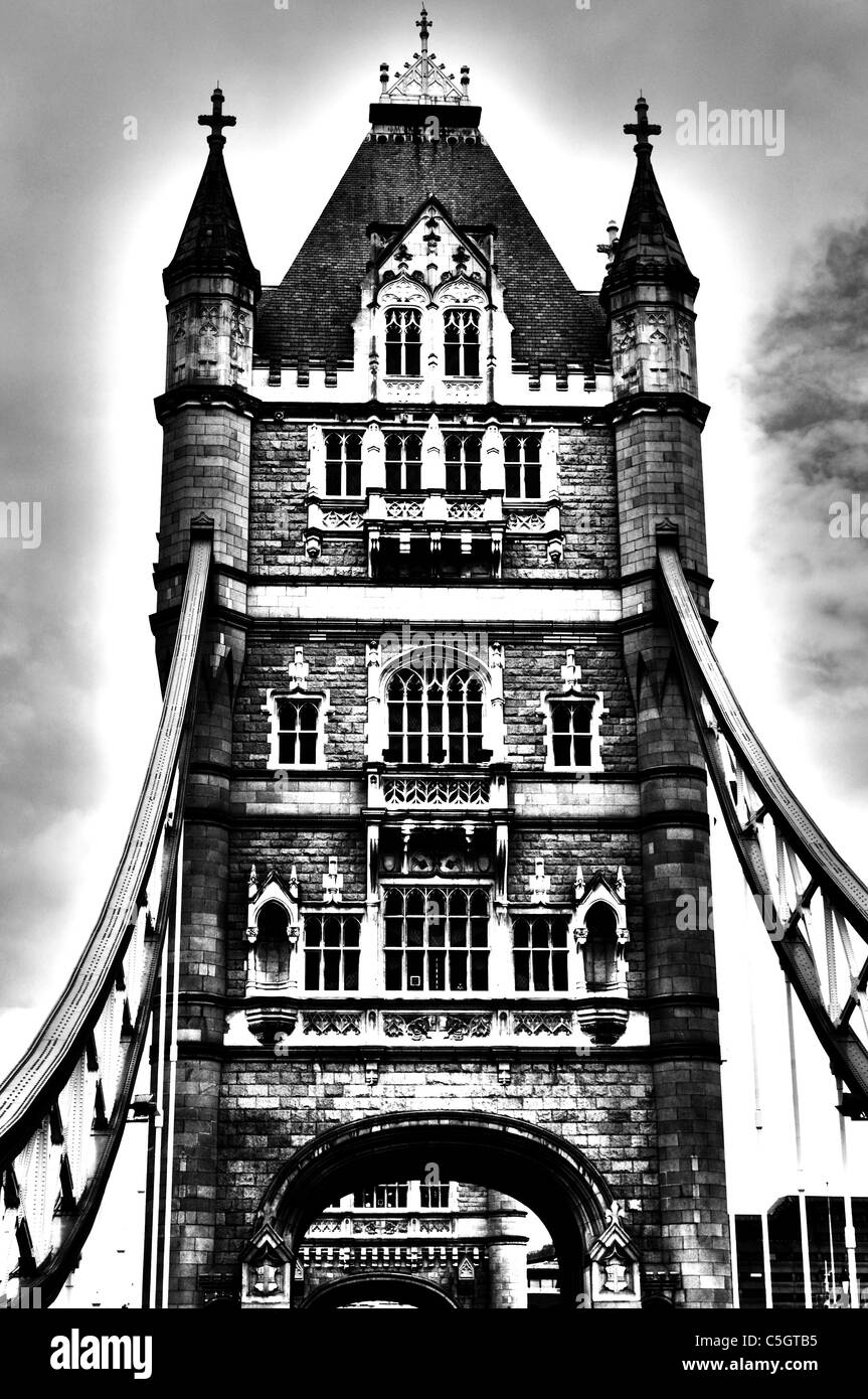This is an inside look at tower bridge, one of the one turrets. This famous bridge is located in London - Stock Image