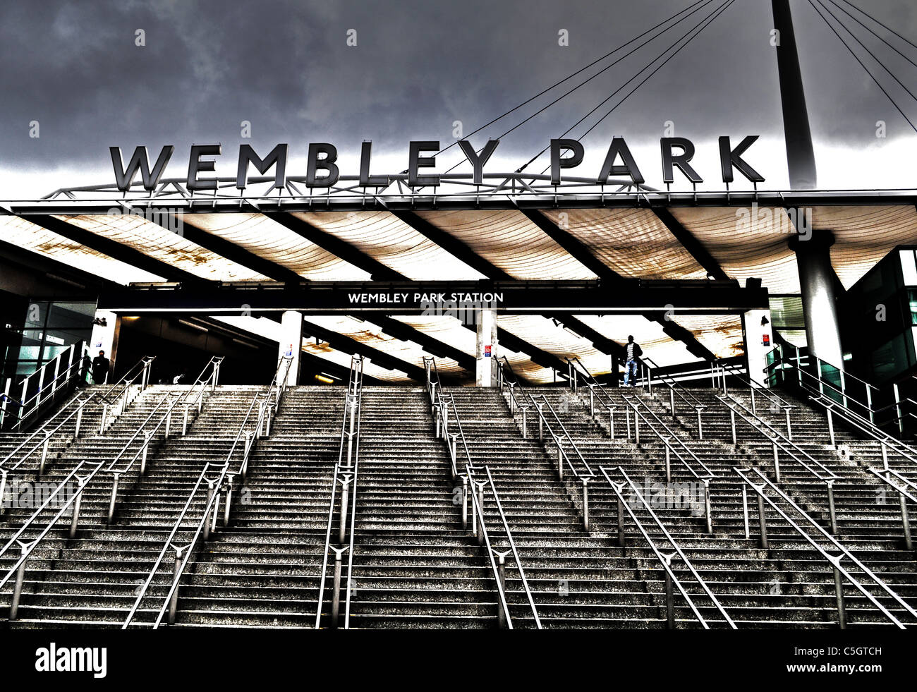 Wembley Park Underground Station in Wembley, London England. The home of English Football - Stock Image