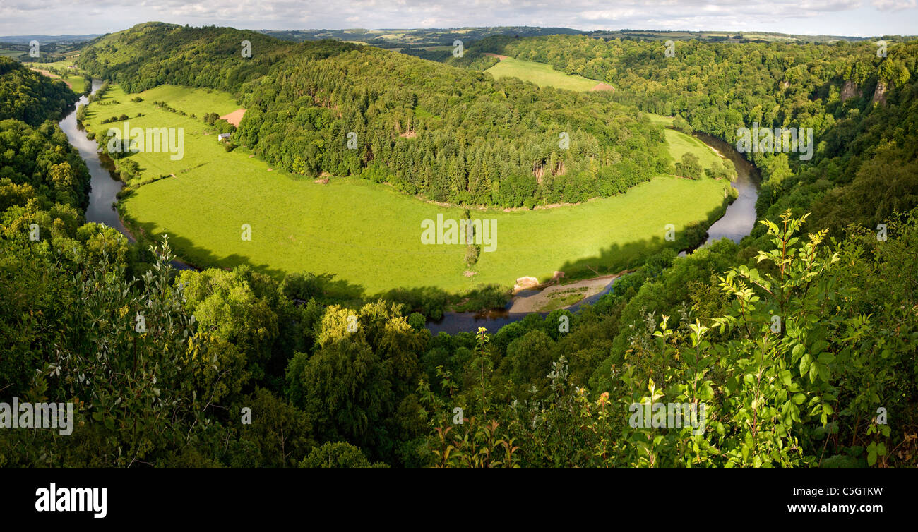 Panoramic view north from Symonds Yat Rock and the Wye valley towards Ross on Wye in evening light - Stock Image