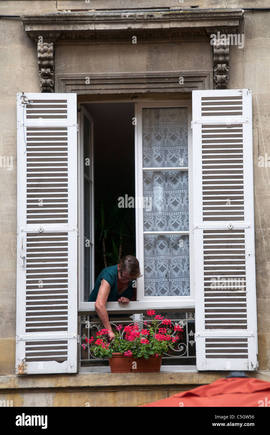 Woman attending geraniums in shuttered window in Old Bergerac Dordogne Aquitaine France - Stock Image