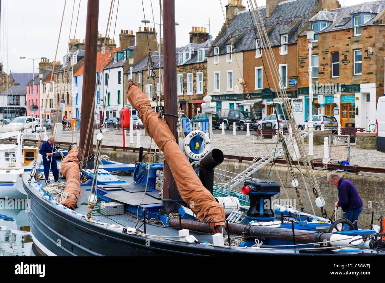 The historic Fife herring drifter Reaper in Anstruther harbour, East Neuk, Fife, Scotland, UK - Stock Image
