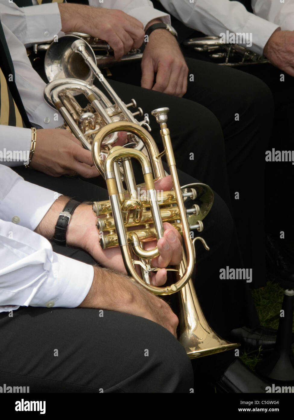 Trumpets in a Brass Band-1 - Stock Image