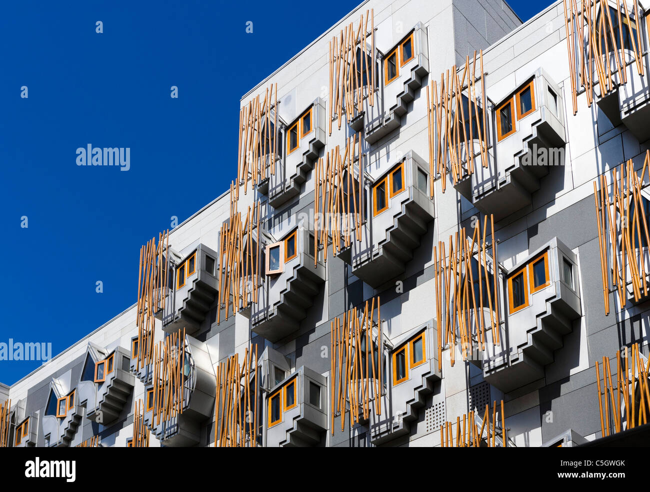 Side view of the new Scottish Parliament building by the architect Enric Miralles, Holyrood, Edinburgh, Scotland, - Stock Image