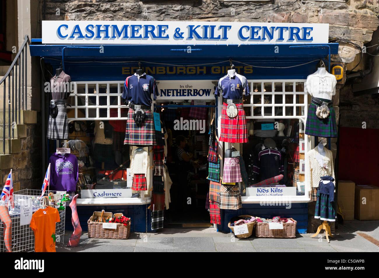 Shop selling kilts on Canongate, The Royal Mile, Edinburgh, Scotland, UK - Stock Image