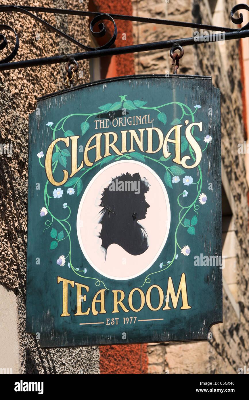 Sign for Clarinda's Tea Room on Canongate, The Royal Mile, Edinburgh, Scotland, UK - Stock Image