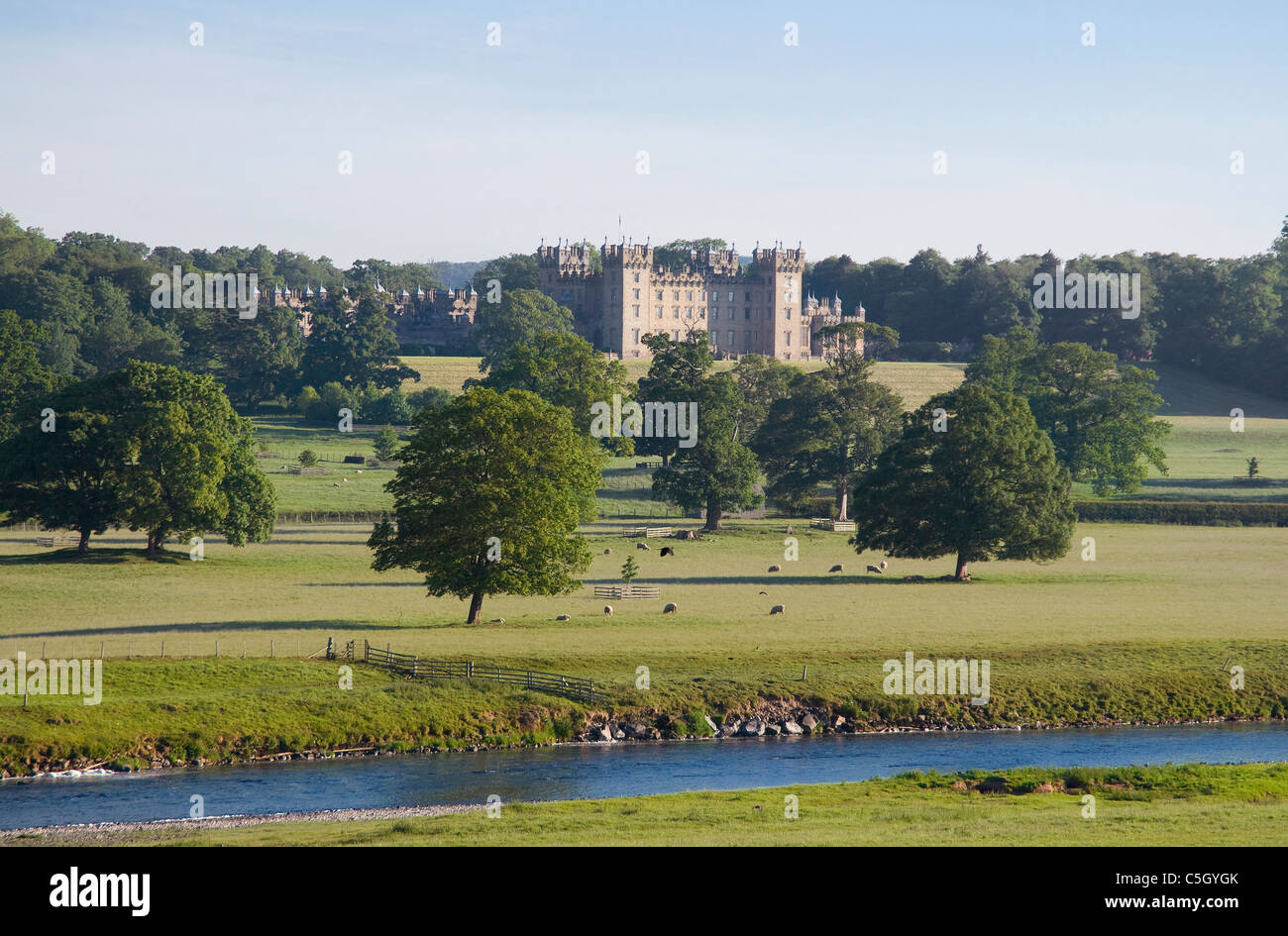 Floors Castle and parkland with River Tweed by Kelso - Stock Image