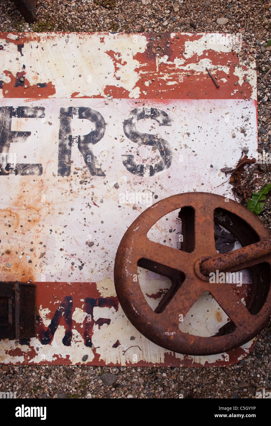Abstract design of rusting, discarded commercial parts. - Stock Image