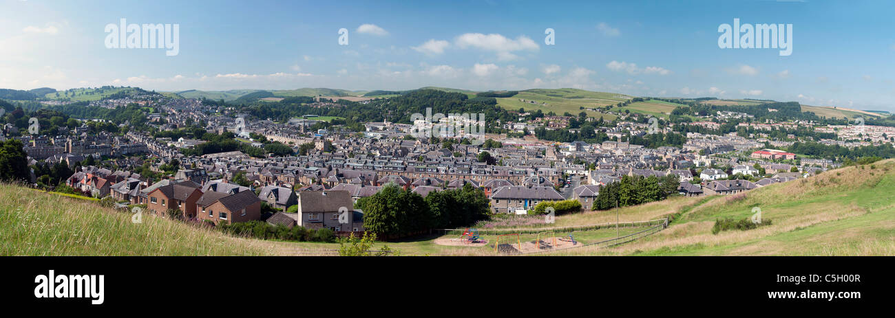 Hawick - Panoramic view of the town - Stock Image